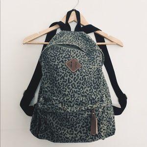 Leopard print moss green backpack!! Fresh!!!